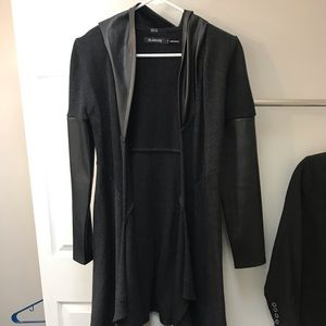 BlankNYC long black cardigan with leather sleeves
